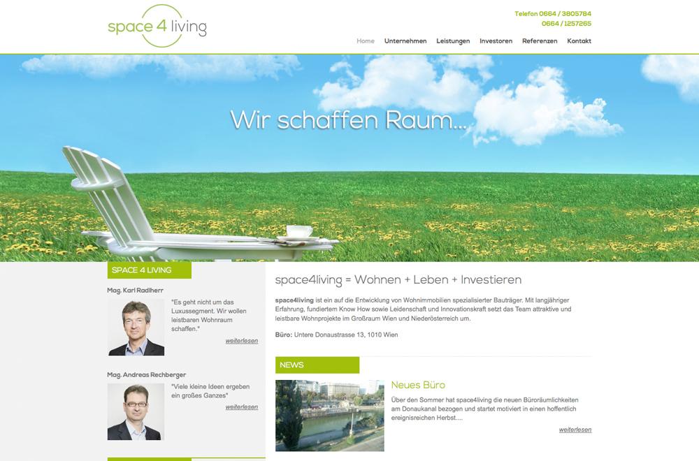 Webdesign wien logo referenzen space4living for Grafik design praktikum wien