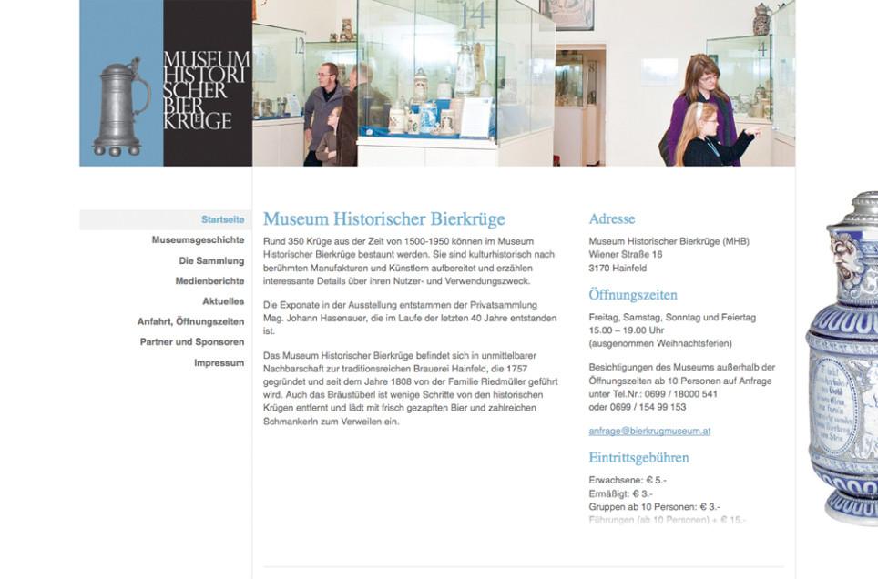 Webdesign & Grafik - Beispiel: Museum Historischer Bierkrüge