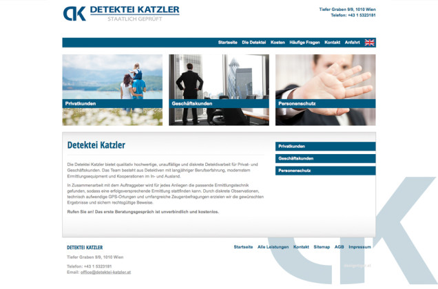 Webdesign & Grafik - Beispiel: Detektei Katzler