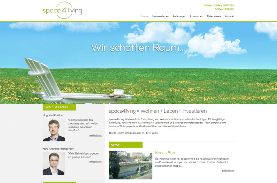 Webdesign & Grafik - Beispiel: space4living