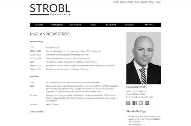 Webdesign & Grafik - Beispiel: Rechtsanwalt Mag. Andreas Strobl